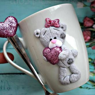 чашка из глины, кружка тедди, чашка ручной работы, кружка с мишкой, кружка дочке, подарок ребенку