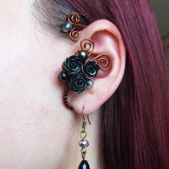 Кафф и серьги Черные розы