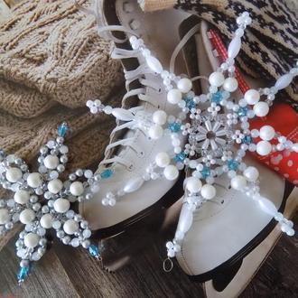 Снежинки из бусин на елку (комплект из двух штук)
