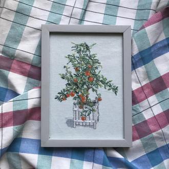 Вышитая картина «Апельсиновое дерево»