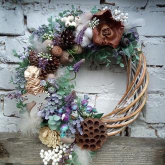 Декоративные венки, весняний вінок на двері в пастельній гамі, великодній вінок на двері,
