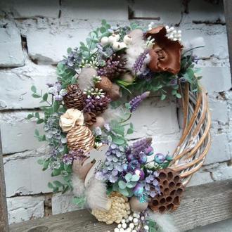 Декоративные венки, весенний венок на дверь в пастельной гамме, пасхальный венок на дверь,