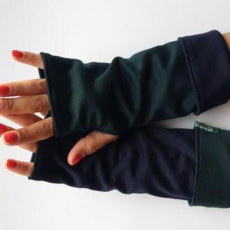 Митенки перчатки без пальцев зеленые и темно синие, трикотажные