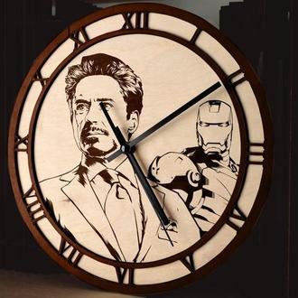 Деревянные часы с гравировкой, разные цвета и размеры, принимаем индивидуальные заказы Marvel
