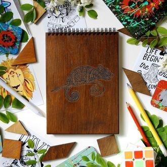 Блокнот Хамелеон, деревянный блокнот Хамелеон, с деревянной обложкой