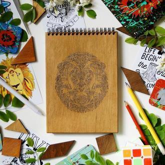 Блокнот Лев 3, деревянный блокнот Лев 3, с деревянной обложкой