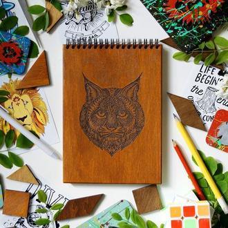Блокнот Рись, деревянный блокнот Рысь, с деревянной обложкой