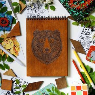 Блокнот Ведмідь, деревянный блокнот Медведь, с деревянной обложкой