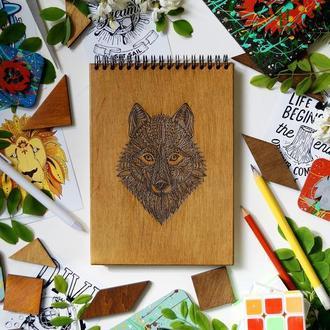 Блокнот Вовк, деревянный блокнот Волк, с деревянной обложкой
