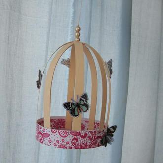 """Декор  для дома """"Клетка и бабочки"""""""