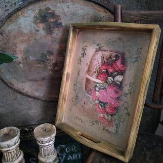 """Поднос """"Винтажная роза"""" дерево ручная работа"""