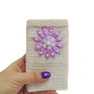 Вязанный чехол для телефона смартфона Цветок
