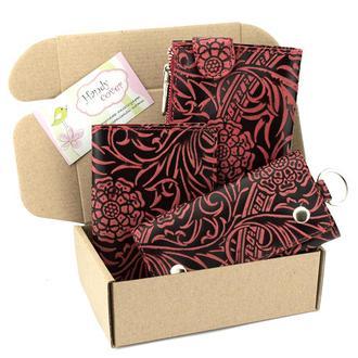 Подарочный набор №17 (бордовый): Кошелек, обложка на паспорт, ключница