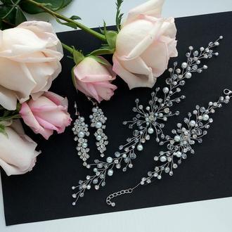 Свадебные украшения для невесты, веточка в прическу, комплект украшений, украшения для невесты