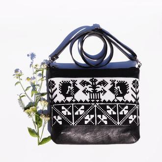 Черно-белая сумка через плечо с ручной вышивкой, Эко кожа