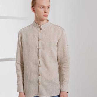 Льняная рубашка с ручной вышивкой