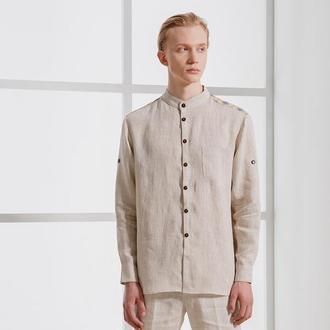 Льняная рубашка бежевого цвета с вышивкой