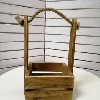 Деревянный декоративный ящик для цветов и подарков. Ящик-кашпо с ручкой