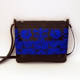 Черно-синяя сумка через плечо с ручной вышивкой, Эко кожа
