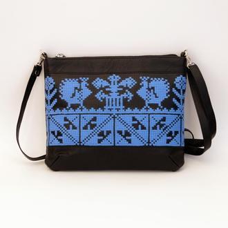 Черно-голубая сумка через плечо с ручной вышивкой, Эко кожа