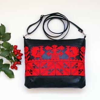 Черно-красная сумка через плечо с ручной вышивкой, Эко кожа