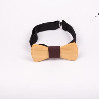 Деревянная бабочка классическая из сосны, вставка simple brown style.Дерев'яний метелик.