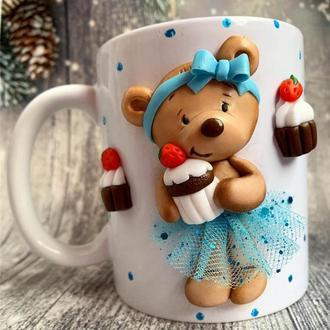 кружка с декором, чашка с мишкой, кружка с мишкой, чашка ручная работа, кружка на заказ, новогодняя
