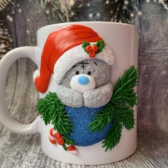 новогодняя чашка, кружка тедди, обьемная кружка, кружка с лепкой, чашка на заказ, новогодняя кружка
