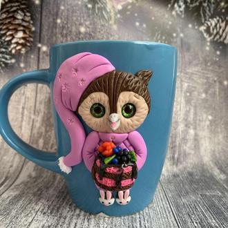 кружка с совой, чашка сова, кружка на заказ, чашка с лепкой из глины, кружка ручной работы, чашка