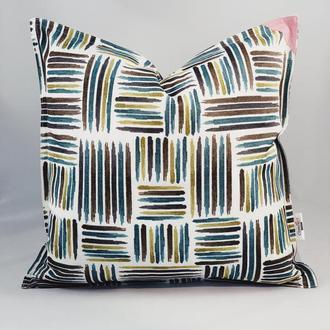 Диванная подушка с геометрическими рисунками. Подушка на замке. Декоративная подушка.