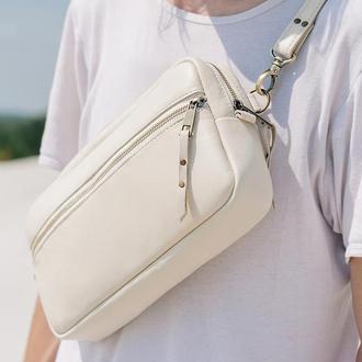 Белая кожаная сумка бананка, Женская сумка через плечо, Мужская поясная сумка