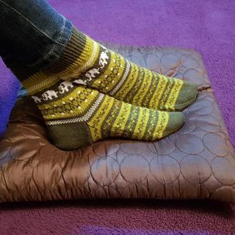 Носки плотной вязки со слониками