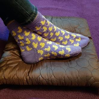 Носки плотной вязки с уточками