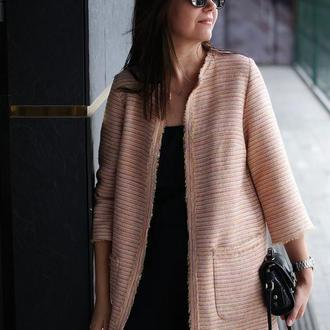 Жакет женский Nklook удлиненный в стиле Шанель розовый