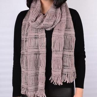 Ажурный женский шарф вязаный крючком. Нарядный палантин. жіночий шарф. Подарок женщине. Подарунок