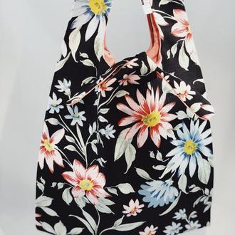 Эко-сумка. Сумка для покупок, шоппер, авоська, торба. Сумка с цветами. Тканевая сумка.