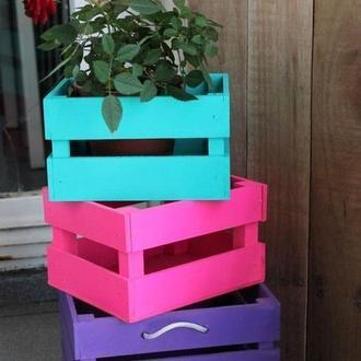 Деревяный декоративный ящик для цветов и подарков. Деревянный ящик. Декоративный ящик.