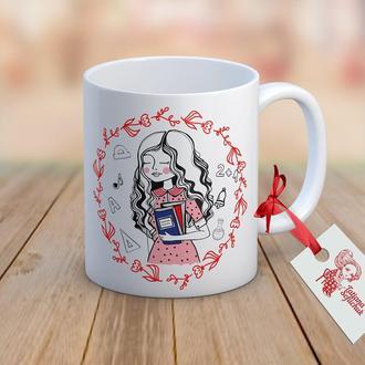 Найкраща вчителька в світ (Лучшая учительница в мире)  - дизайнерская чашка с авторским рисунком