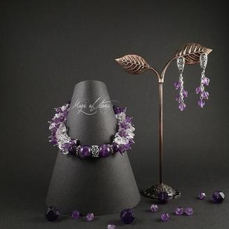 Комплект украшений из аметиста,горный хрусталь и серебро 925 пр.