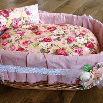 """Плетеная корзина для животных """"Розовый прованс"""""""
