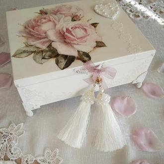 """Свадебная шкатулка """"Элегантная роза в белом"""""""