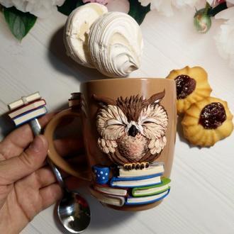 """Чашка и ложка с декором""""Сова"""""""