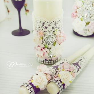 Свадебные свечи / Венчальные свечи / Свечи фиолетовые / Рожеві свічки для весілля / Лиловые свечи