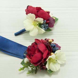 Бутоньерки для свидетелей марсала / Синие бутоньерки / Цветы для свадьбы / Солочные цветы