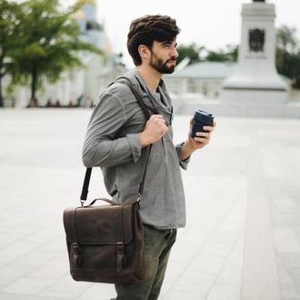 Сумка из натуральной кожи, сумка для документов и ноутбука, подарок парню или девушке.