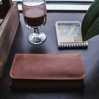 Кожаное женское портмоне, большой женский кошелек, портмоне для девушки, именной кошелек