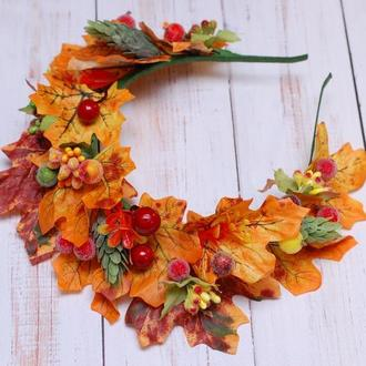 Осенний обруч ободок с листьями на праздник осени