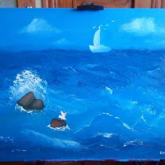 """Картина маслом """"Морской мираж"""""""
