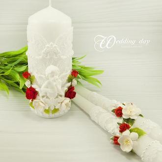 Венчальные свечи красные / Свечи для свадьбы / Свечи белые / Білі свічі для весілля