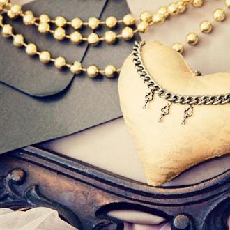 Золотое текстильное сердце в стиле стимпанк
